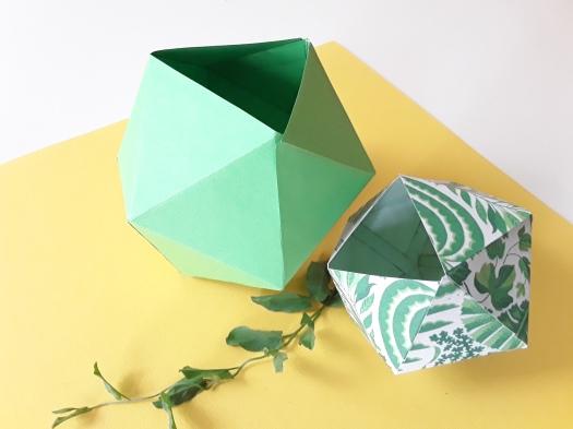 Papier Faltboxen als Dekoration