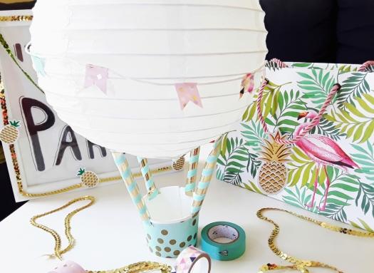 Papier Heißluftballon als Geschenkverpackung für Hochzeit und zur Geburt